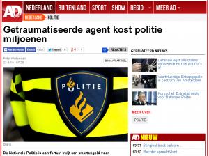 Krantenartikel op ad.nl, getraumatiseerde agenten